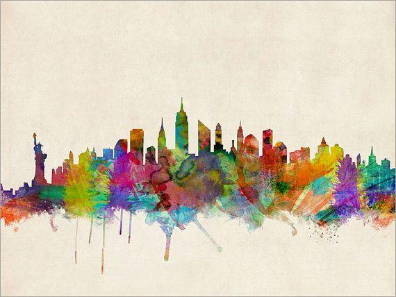 New York City Skyline, Art Print 18x24 inch (295) $24.50