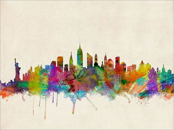 New York City Skyline, art print  Frame/Matte is not included. Available sizes are shown in the SELECT A SIZE drop down menu above the ADD TO CART button.  This print is on superior quality semi-matte 240gsm paper. The specially coated surface enhances the color depth and contrast of the the Ultrachrome inks, which guarantee a lifetime of fade resistance.  Please note that actual colors may vary slightly due to monitor settings.  For BOX CANVAS and FRAMED PRINTS please contact me for…