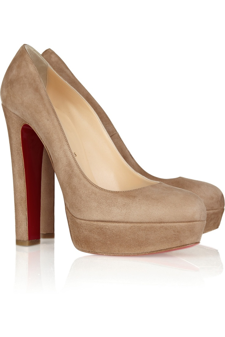 CLNude Shoes, Style, Suede Platform Pump, Platform Pumps, Christian Louboutin Shoes, Louboutin Bibi, 140 Su, Chunky Heels, Christianlouboutin