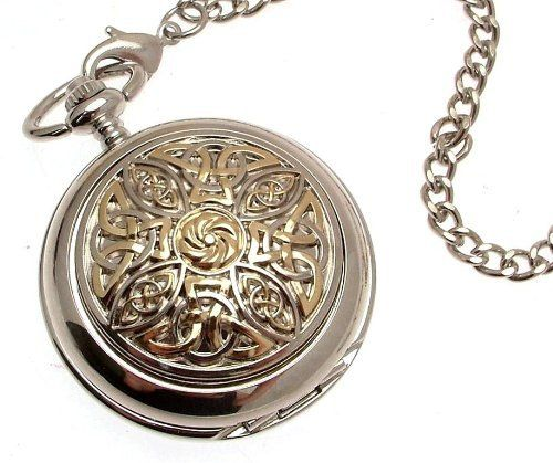 Solid pewter fronted mechanical skeleton pocket watch - Two tone celtic knot design 8 AEW. $99.00
