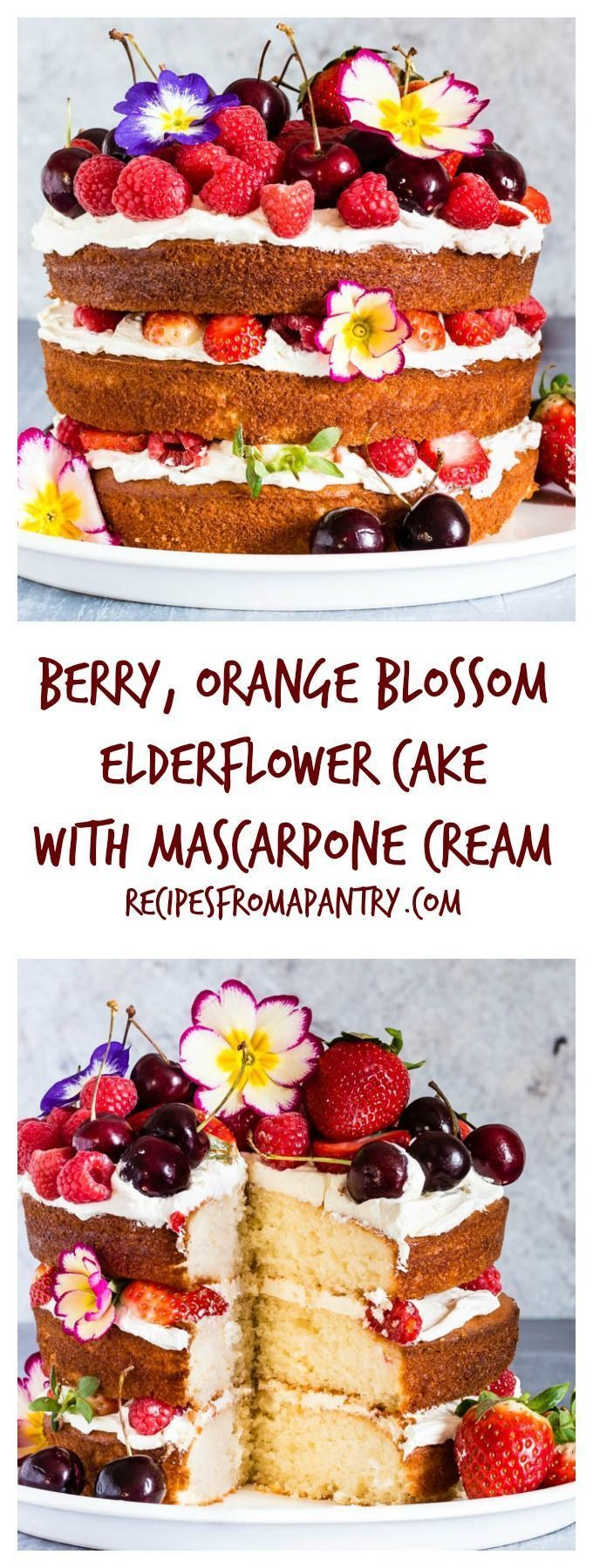 This berry, orange blossom and elderflower cake with mascarpone whipped cream is the best cake recipe ever and yields stunning results   http://recipesfromapantry.com