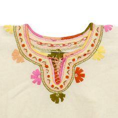 Blusa - Huipil de Manta con bordados en tonos pastel