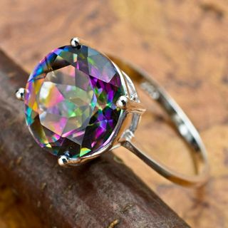 GORGEOUS ROUND RAINBOW TOPAZ RING SZ 6.75 SOLID STERLING SILVER, STAMPED 925~FREE SHIPPING!