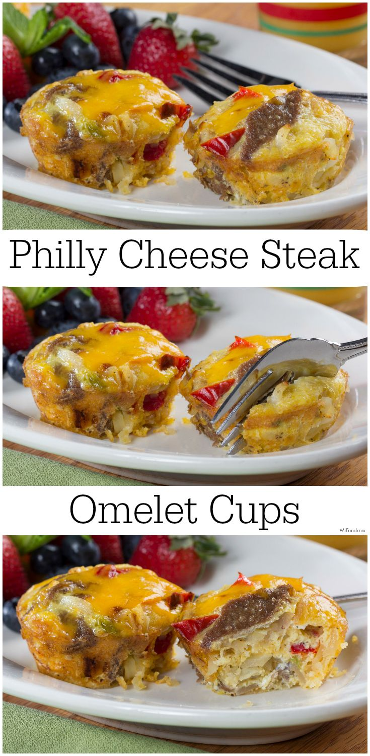 You're going to love this breakfast twist on one of your favorite sandwiches. Our Philly Cheese Steak Omelet Cups portable and tasty! @Easy