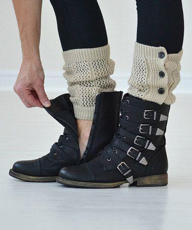 Oatmeal Button-Down Boot Cuffs by PeekABootSocks #zulily #zulilyfinds