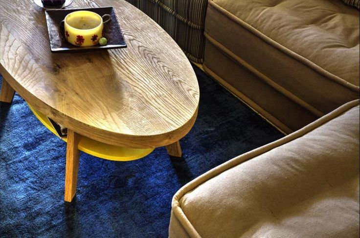 Custom made coffee table, solid wood with laquered shelf, oval shape, Greek interior design
