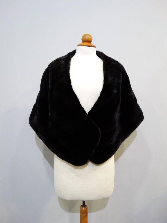 Fur StoleBlack StoleReal Fur CapeFur Big by FilimegasFurs on Etsy