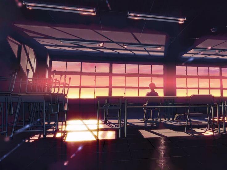 sunsets alone school classroom makoto shinkai 5 centimeters per second anime 1920x1080 wallpaper