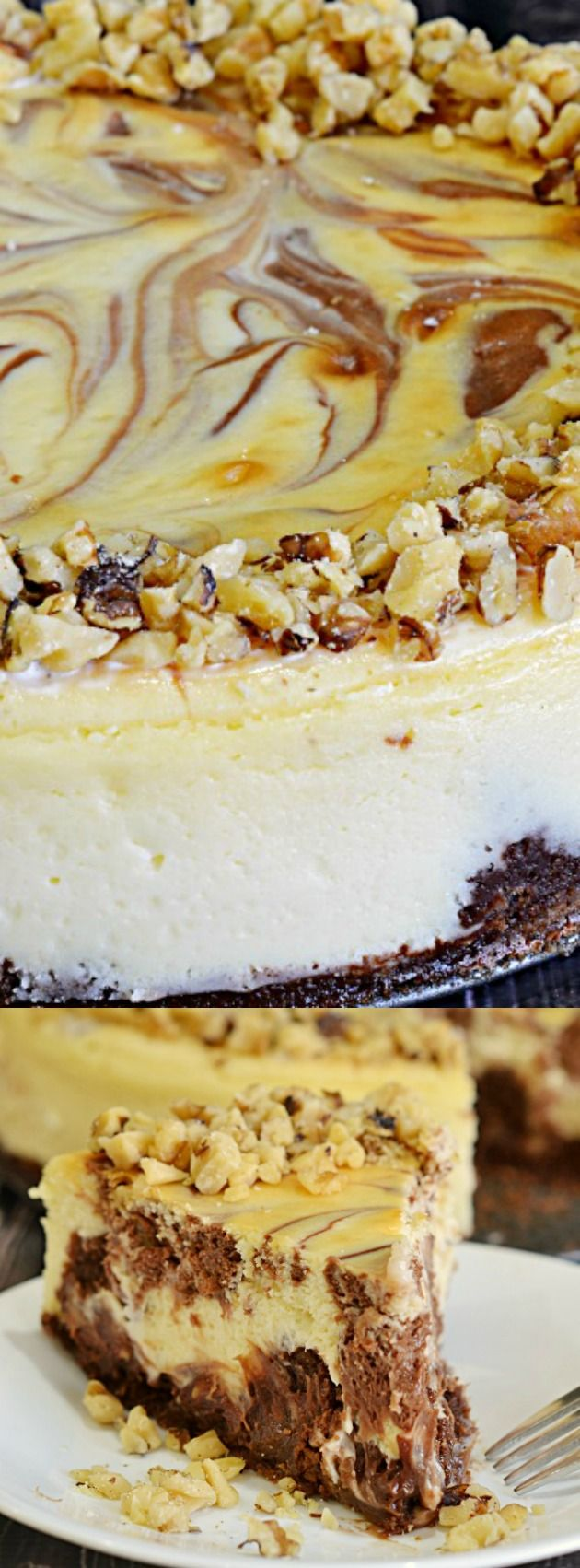 This Brownie Swirl Cheesecake from Lady Behind the Curtain is your two favorite desserts in one! It has a chewy brownie crust, layers of chocolatey brownie bits and dollops of dark chocolate swirls!