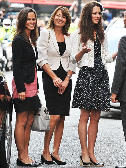 THREE OF A KIND   While checking into the Goring hotel the night before the wedding, the Middleton women (including mom Carole, center) look casually chic – but only Pippa opted for a pop of color, topping her pink dress with a black blazer and finishing the look with patent shoes (plus her trusty Modalu bag!)