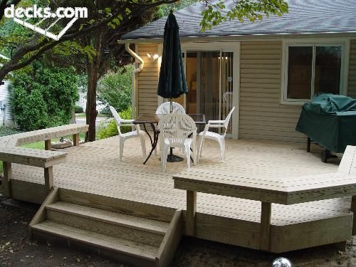 Deck i like the bench seating all the way around though for Small deck seating ideas