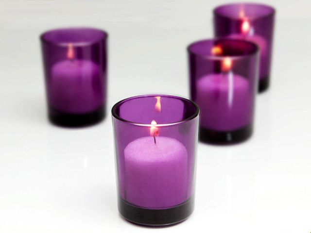 Cudge.net - Purple Votive Candle Holders - Case of 72 also have blue, green & amber as well as clear