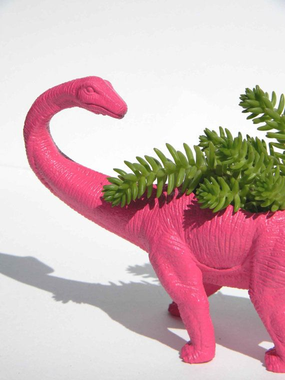 Dinosaur Planter Bubble Gum Pink Add Your Own by crazycouture