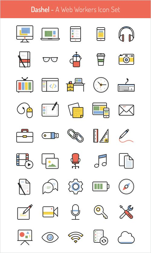 DASHEL ICON SET (45 ICONS, SVG, PSD, PNG) - Download all for free - Getfreeresources.com