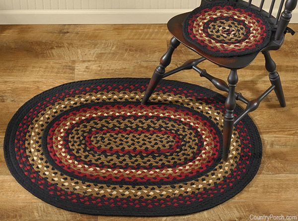 Folk Art Braided Chairpads And Oval Braided Area Rugs @ CountryPorch.com