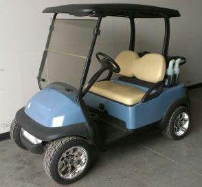 Baby Blue 48v Electric Club Car Precedent Golf Cart w/ Custom Rims & Tires