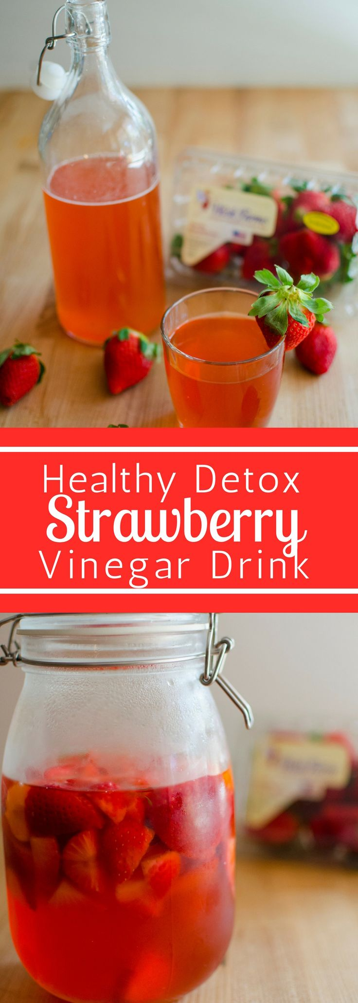 #FLStrawberry Detox Vinegar Drink #SundaySupper. If you haven't hopped on the vinegar drink bandwagon now is the time. This healthy drinks are great for digestion. And this one is delicious and loaded with flavor! The strawberries add a touch of sweetness to this tangy and delicious drink.@Flastrawberries