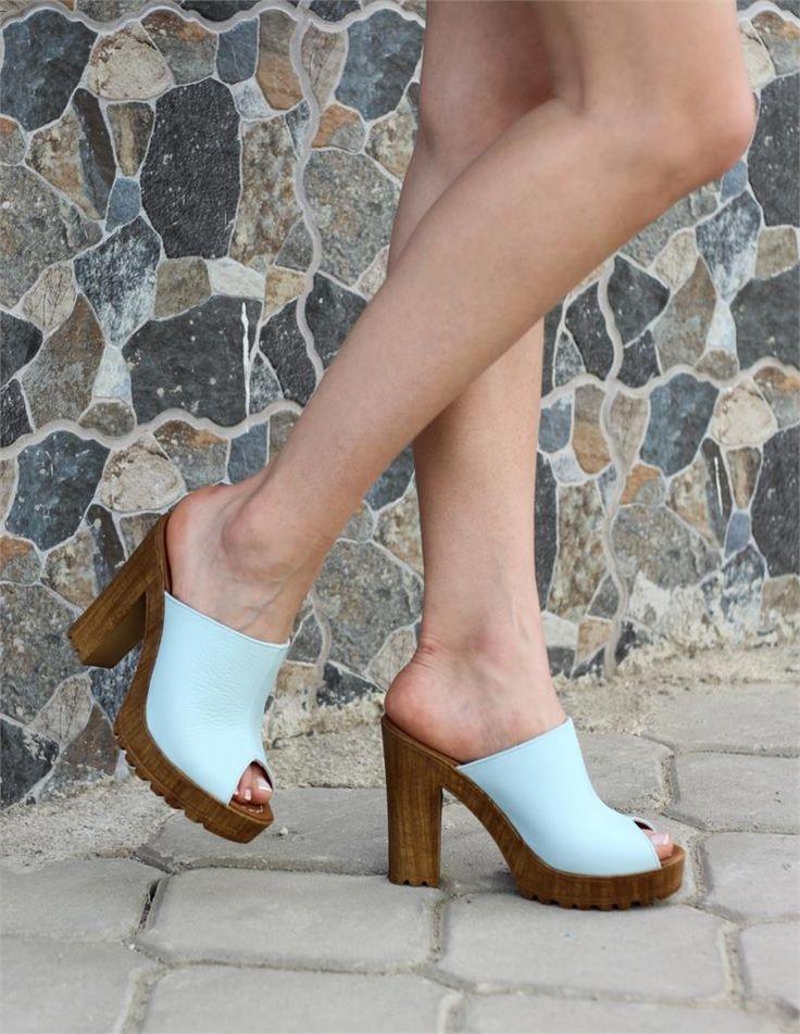Hakiki Deri Açık Mavi Sabo Terlik Günlük Ayakkabı