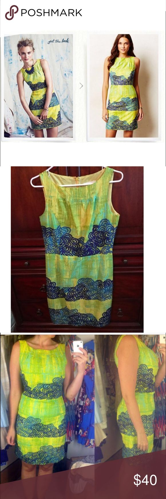 Anthropologie Tabitha Azure Scroll Dress Blue-green shift dress slim fit, romantic mixed with a hint of the unexpected; worn once does not fit me anymore unfortunately very artsy beautiful dress Anthropologie Dresses Mini