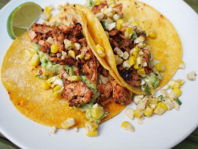 blackened salmon tacos with jalapeno corn salsa | bloom and nourish