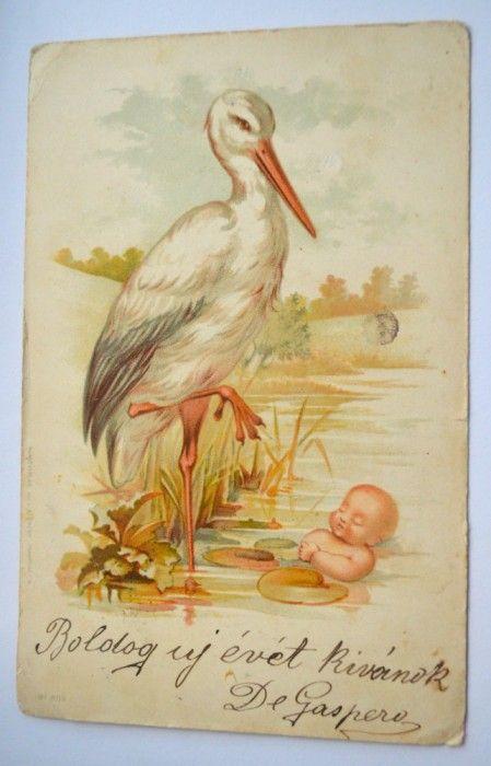 Carte postala veche - tematica animatie cu barza si bebelus foto mare