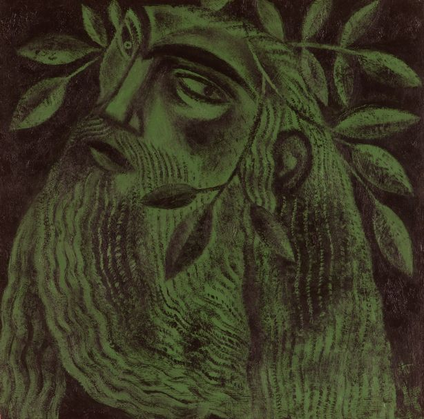 Sir Gawain and the Green Knight: Clive Hicks-Jenkins. Pictured: study for The Green Knight