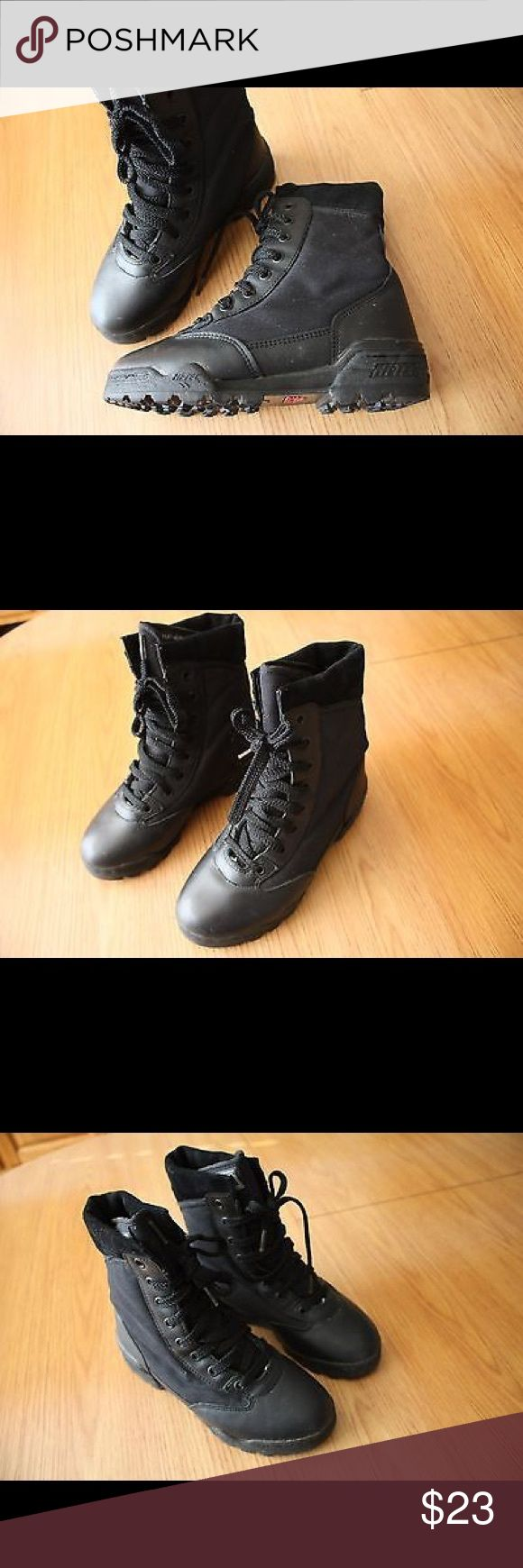 Magnum Hi-tec Tactical Combat Boots Size 7 USA Pre-Owned Magnum Hi-tec Women Tactical Combat Boots Size 7 USA 38 EUR Black 8 inch, Sn: LADY MAGNUM, Boots are in great condition, see photos for details. Magnum Shoes Combat & Moto Boots
