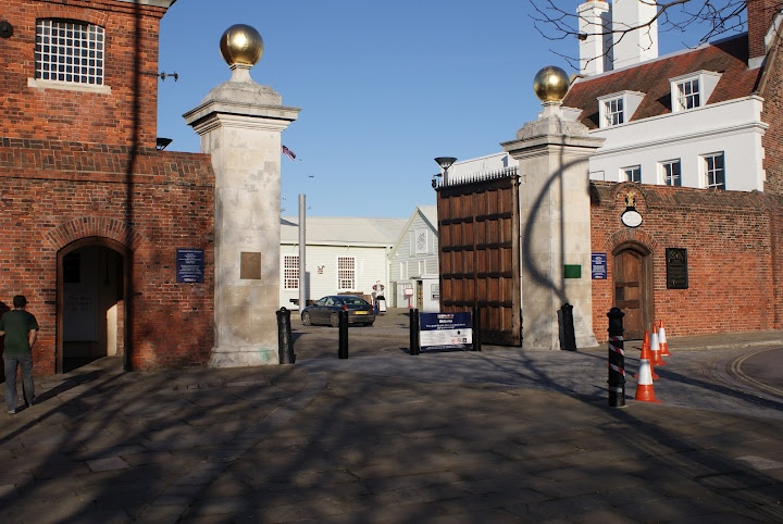 Main Gate to Portsmouth Historic Dockyard and Royal Navy Base. at the Hard Portsea.