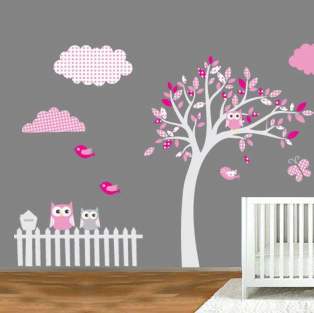 Cute Wandtattoo Aufkleber Muster Baum Eule Wanddeko