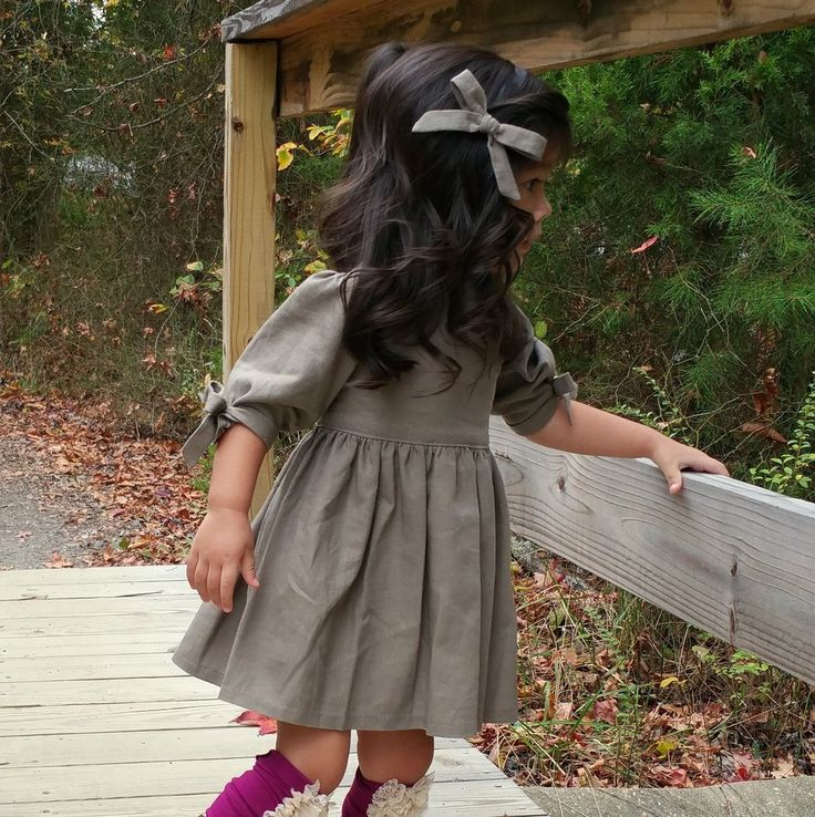 Chloe Dress in Mushroom Linen for baby toddler little girl long elbow sleeve cotton handmade button back warm cozy fall winter thanksgiving vintage inspired boutique