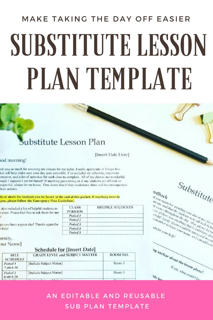 Best Classroom Forms And Resources Images On Pinterest Ela - Substitute lesson plan template