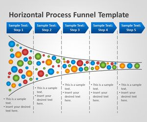 Free horizontal Process funnel analysis template for Microsoft PowerPoint presentations is an original and unique PPT presentation template with horizontal funnel diagram that you can use to make stunning marketing and business PowerPoint presentations