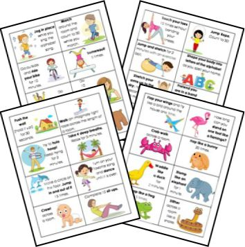 the wiggle jar  activity cards yoga for kids preschool