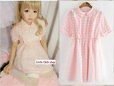 Kawaii Sweet Lolita Punk Pretty Girls Slim Short Sleeve Plaid Dress Onepiece