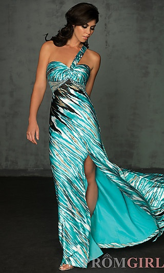One Shoulder Print Prom Dress by Night Moves 6069   ----Long Prom Dresses 2013, Cheap Long Prom Dresses, Long Formal Dresses