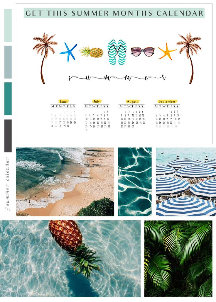 Get this pretty calendar for all the summer, Feel those beach vibes! <3