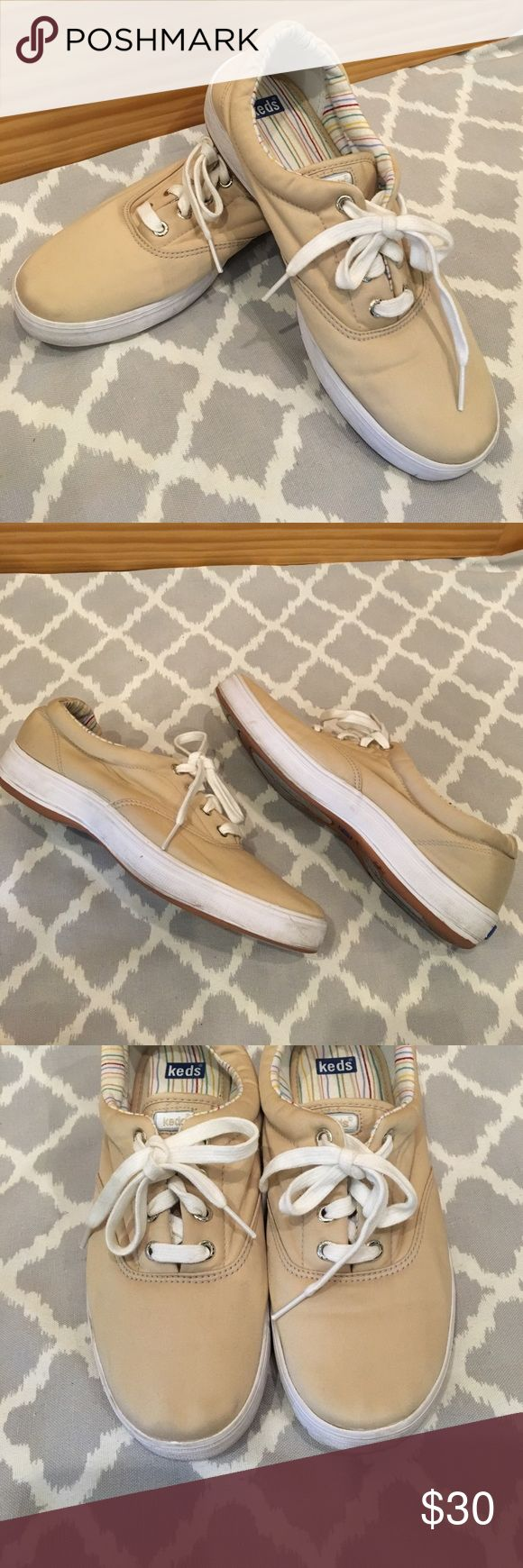 Cream Nylon Lace Up Keds Sneakers Cream Nylon Lace Up Keds Sneakers. Pre-owned but still in good condition. Keds Shoes Sneakers