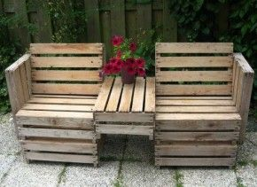 pallets turned outdoor seating with console