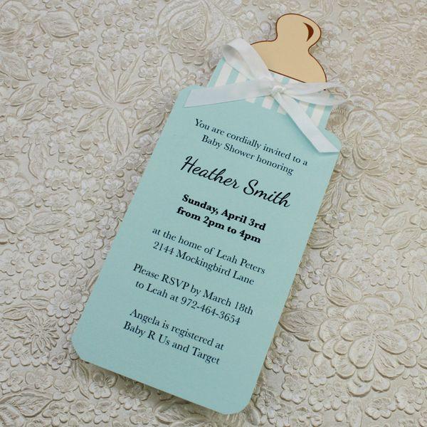Baby Bottle Boy Shower Invitation Template 1