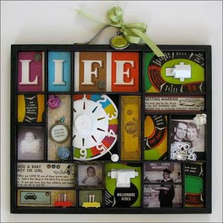 I LOVE this idea!! how cool to memorialize a favorite board game that may be worn out or maybe just buy a cheap one at a yard sale and hang in the game room.