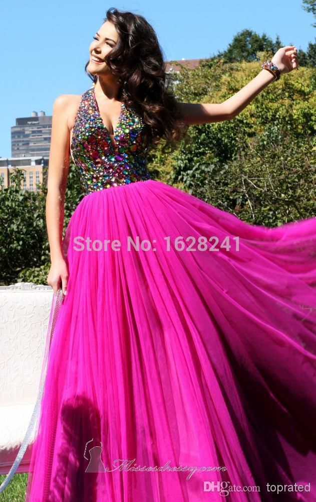 Find More Prom Dresses Information about 2015 Spring Summer Prom Dresses Formals  Party Pageant Evening Gown With Halter V Neck Backless Colorful Beads Crystal,High Quality gown evening dress,China gowns for pregnant women Suppliers, Cheap gown pageant from True Love Bridal dress Co., Ltd.  on Aliexpress.com
