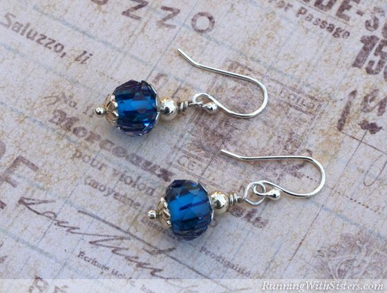 Silver and Blue Glass Bead Earrings - You can make gorgeous, wirework earrings in a flash using this simple wrapped-loop technique. Great gift for Mom!