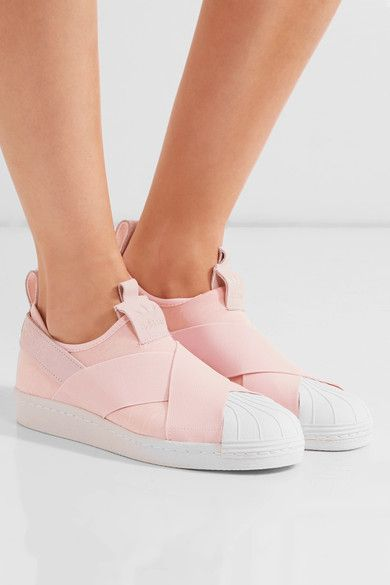 White rubber sole measures approximately 20mm/ 1 inch Pastel-pink neoprene, white leather Slip on