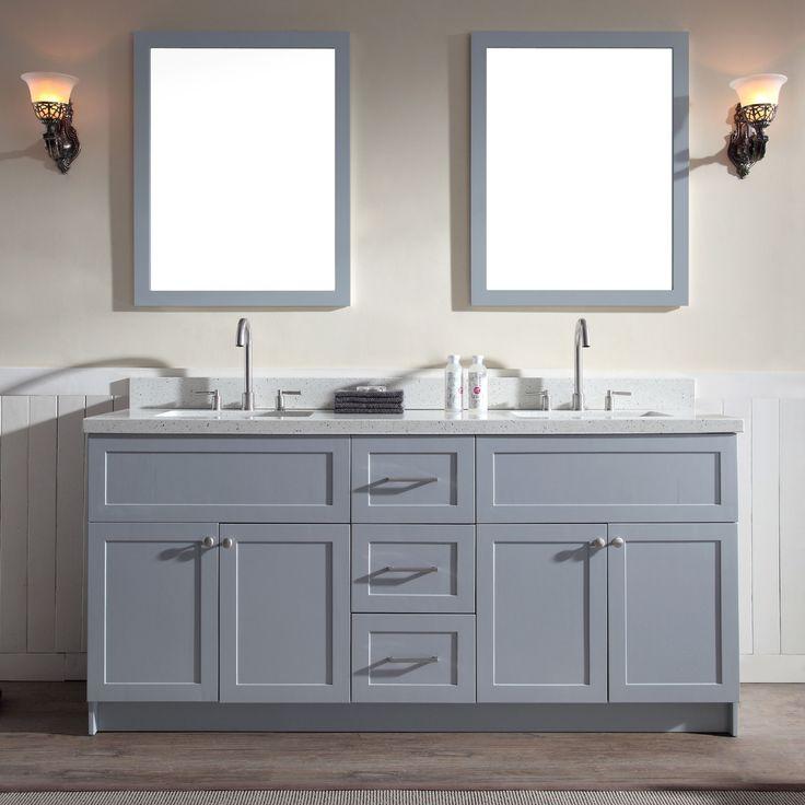 Ariel Hamlet 73 Double Sink Vanity Set With White Quartz Countertop In Grey Hamlet