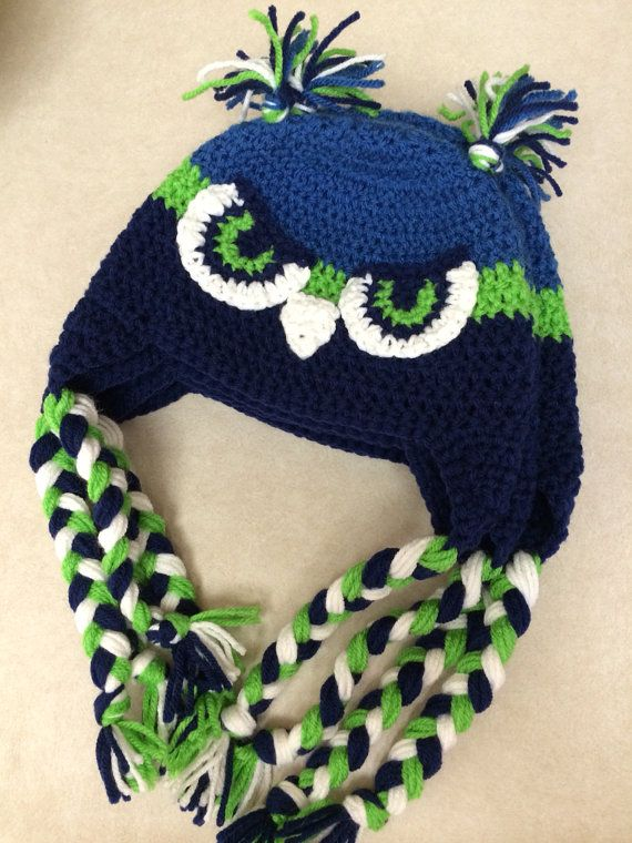 Set Of 2 Seattle Seahawks Earflap Beanie With Face Made To Order