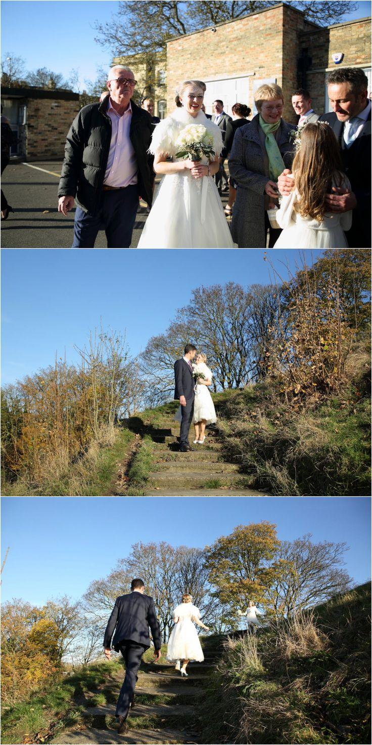shire hall cambridge wedding photography, blue sky and sunshine