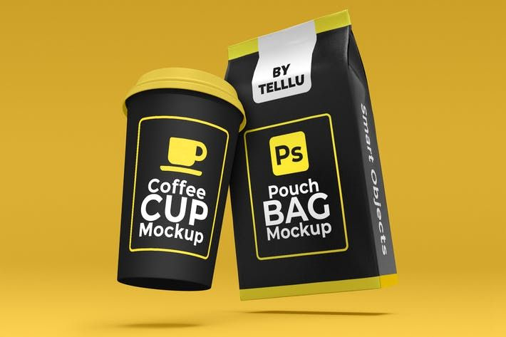 Download Floating Coffee Cup Pouch Bag Mockup
