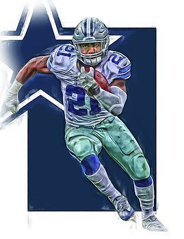 Joe Hamilton - Ezekiel Elliott DALLAS COWBOYS OIL ART SERIES 3