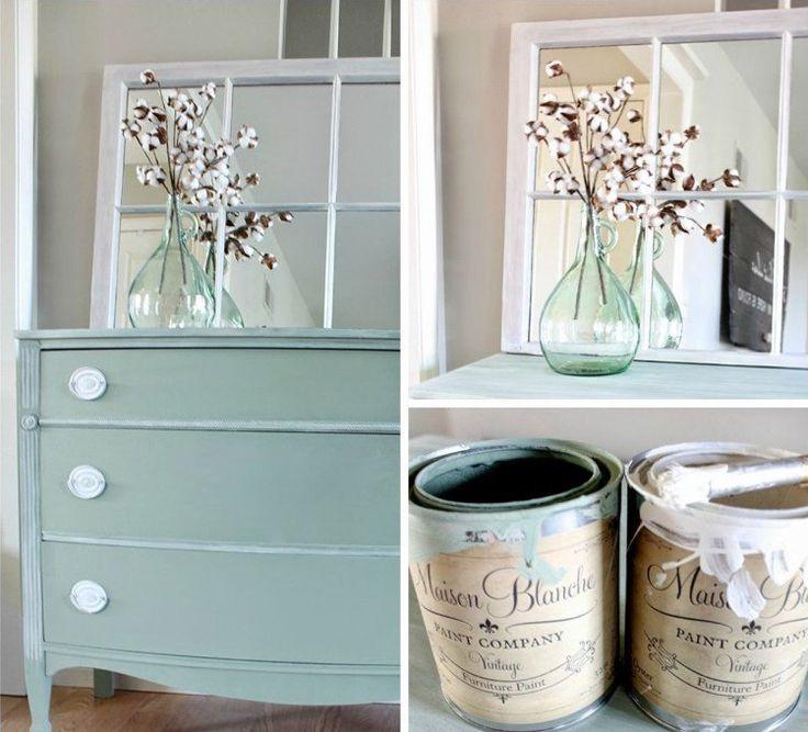 relooking de meubles shabby chic : commode en bois repeinte en vert ...