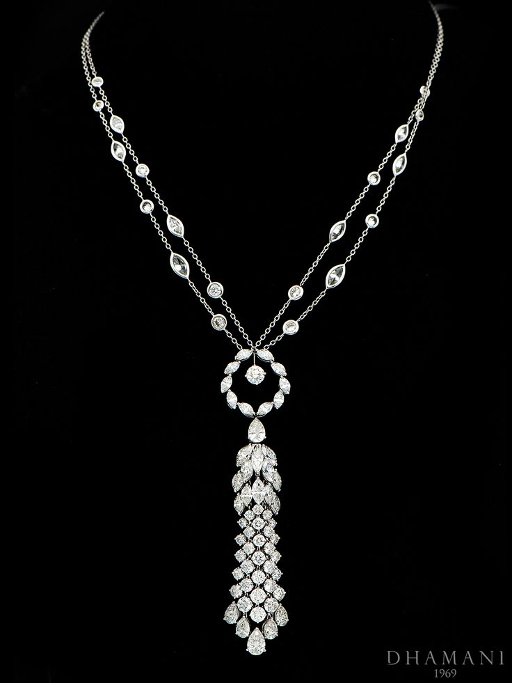 Exquisite Elegant #Diamond #Necklace set with 18k White Gold weighing 25.17 carats, Studded with 20.81 carats of Natural Pear shape Marquise and Round #Diamonds - AT Dhamani The Dubai Mall #Dhamani1969 #luxury #gifts #Engagement #Wedding